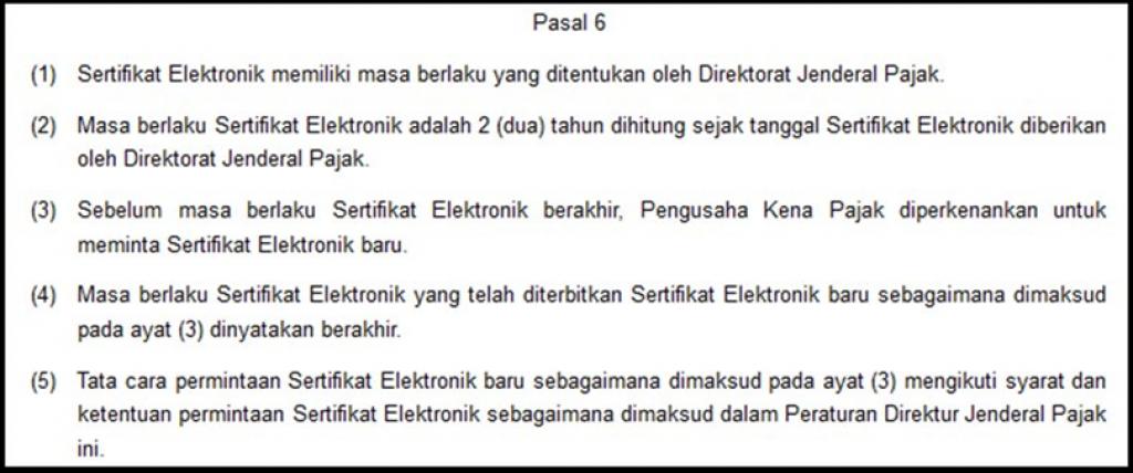 Pasal 6 Peraturan Direktur Jenderal Pajak Nomor Per-28/PJ/2015